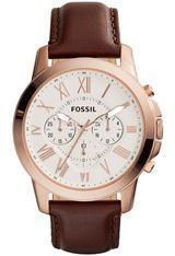 Montre Grant Chronographe - Rose Gold & Cuir marron FS4991 - Fossil