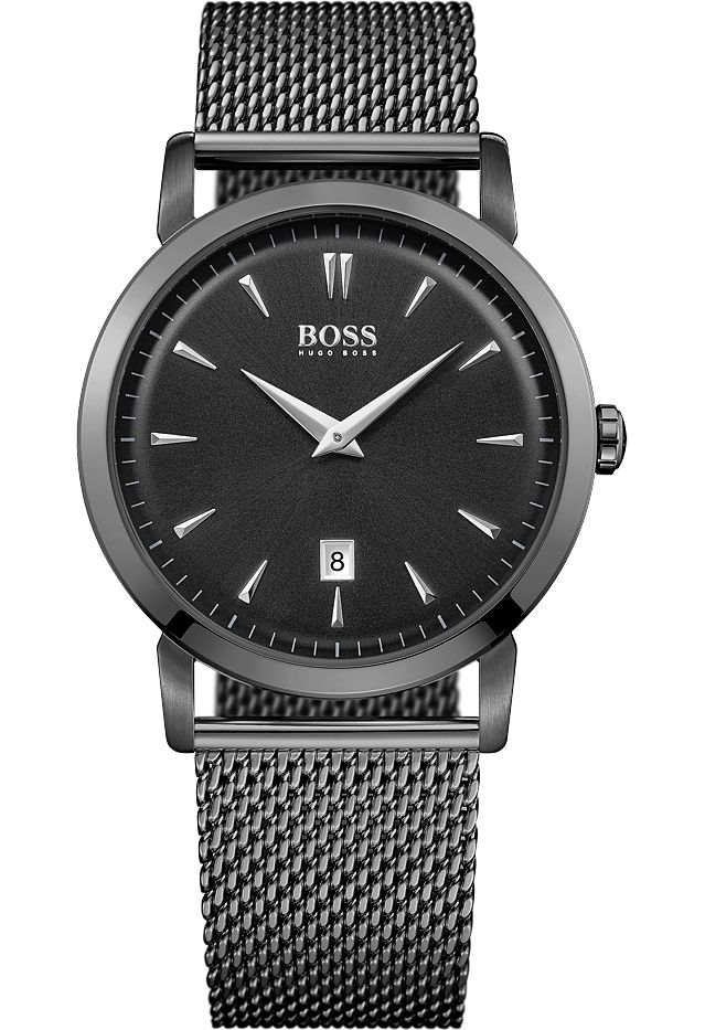 montre slim ultra round 1513235 hugo boss noir montres co. Black Bedroom Furniture Sets. Home Design Ideas