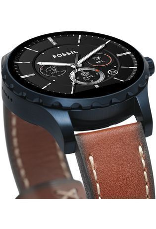 Montre Fossil Q - Marshal PVD bleu & Cuir Marron FTW2106 - Fossil - Vue 4