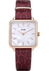 Montre Montre Femme La Tétragone - Rose Gold/White Pearl/Dark Red Alligator CW0101207029 - Cluse