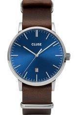 Montre Montre Homme Aravis Nato Leather - Silver Dark Blue/Dark Brown CW0101501008 - Cluse